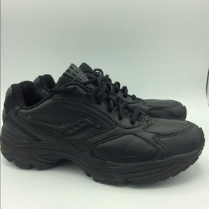 Saucony Omi black leather shoes 8.5 narrow smeaker